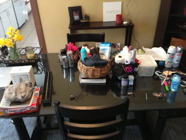 Organizing on the dining table