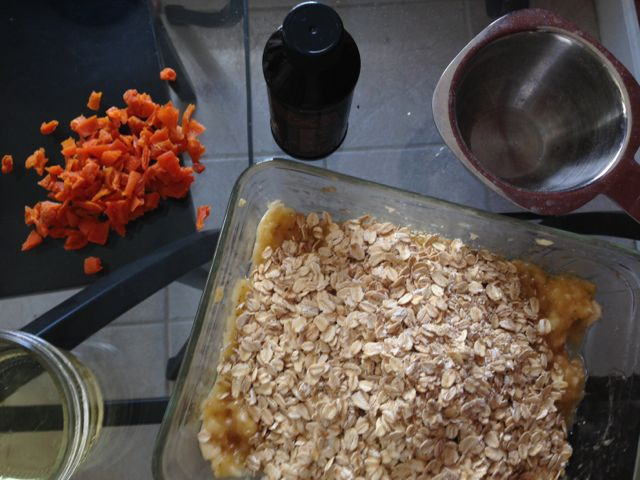 Ingredients for apricot banana oat bites