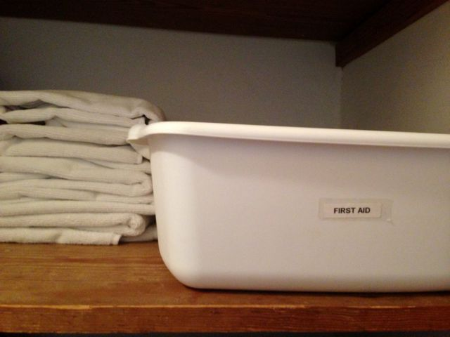 first aid kit in hall closet