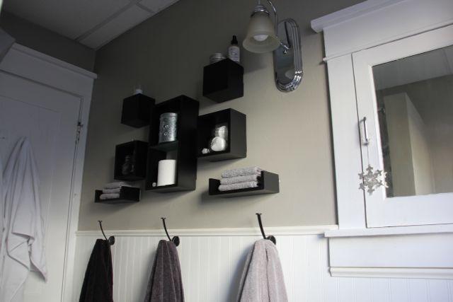Towels on hook in bathroom