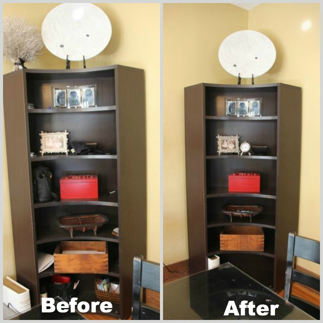 Before and after getting rid of clutter