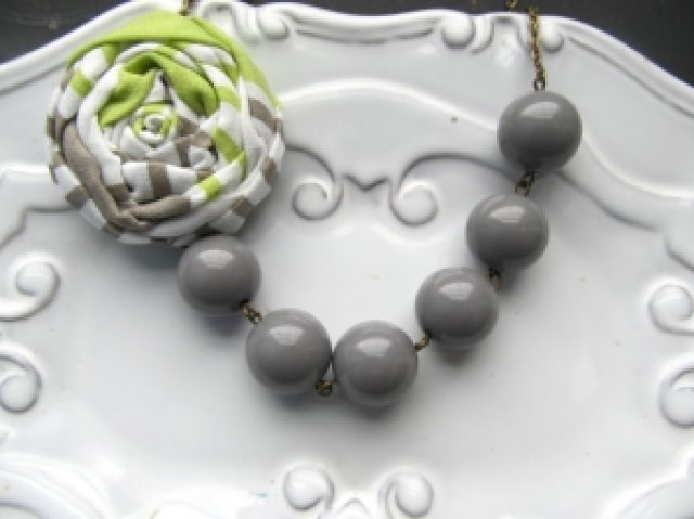 Lime and grey necklace by Happy Little Lovelies