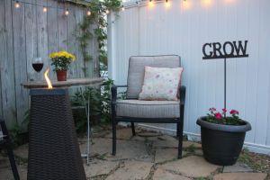 Backyard patio and christmas lights