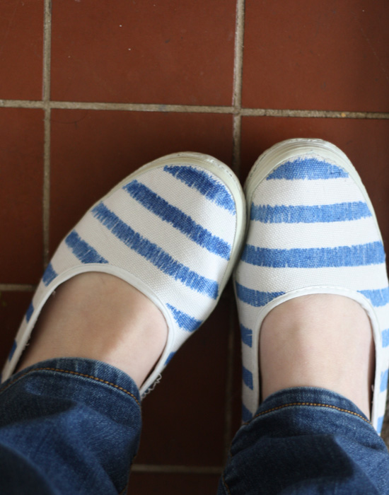 Blue and white striped flats