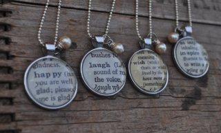 Vintage dictionary pendant necklaces