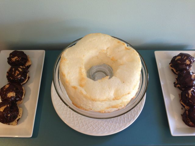 Angel food cake and peanut butter cupcakes