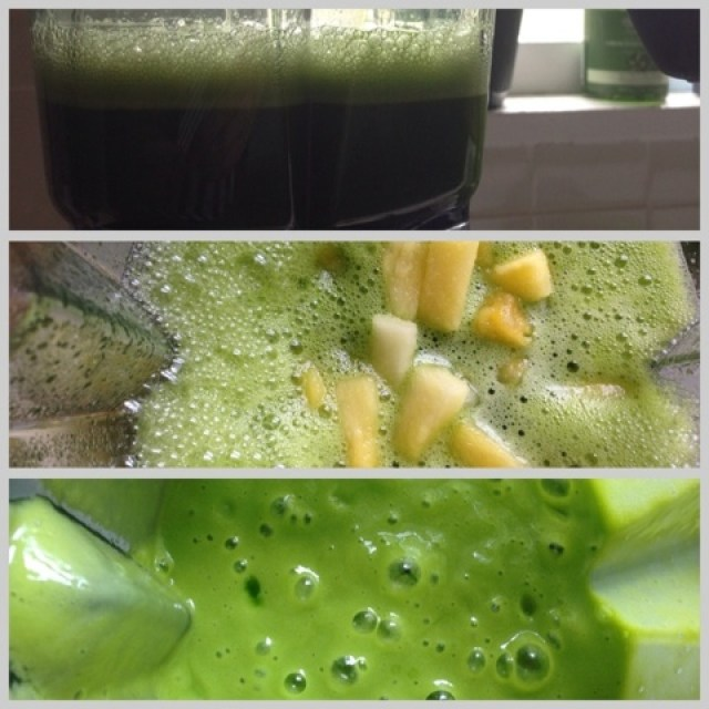 A blender containing ingredients for a green smoothie
