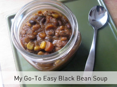 Black bean soup with spoon