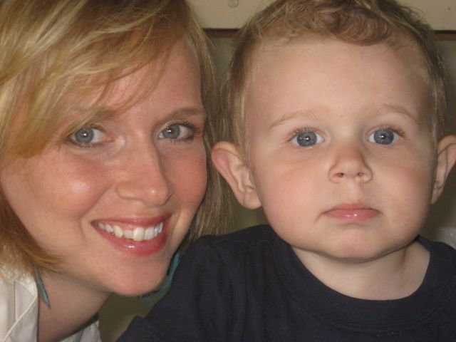 Strawberry blonde woman and her nephew