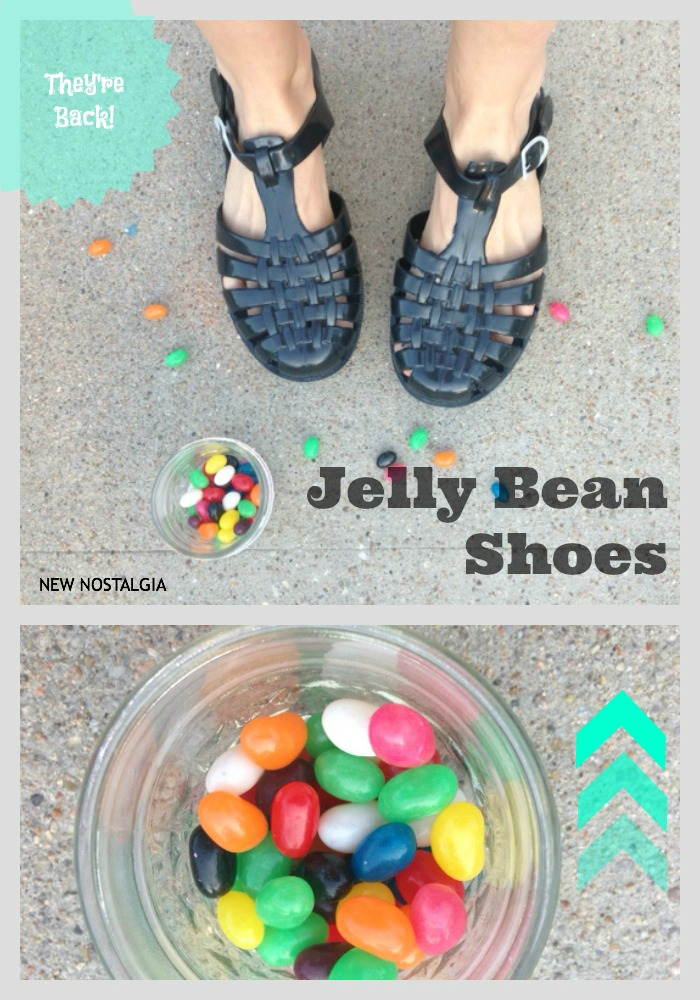 Jelly bean shoes next to a cup of jelly bean candies