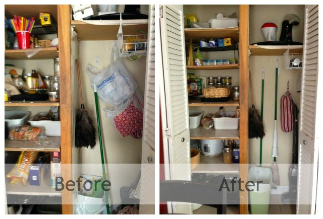 Before and After organizing a large pantry