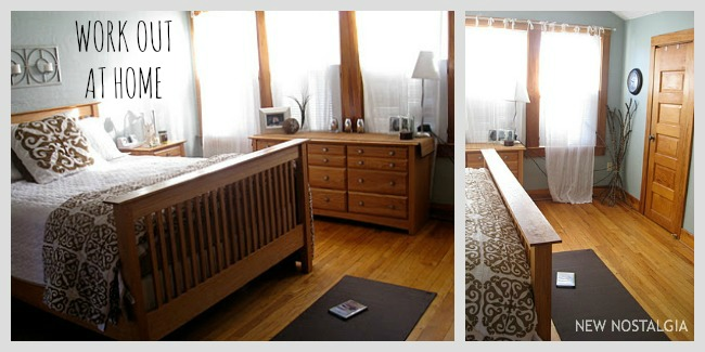 bedroom with yoga mat on the floor a workout space