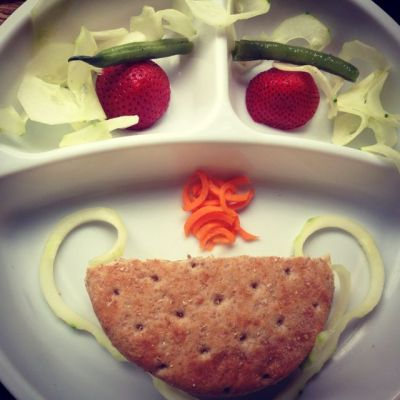 Making a face out of food and a vegetable spiralizer