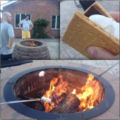 Bonfire with friends and eating smores