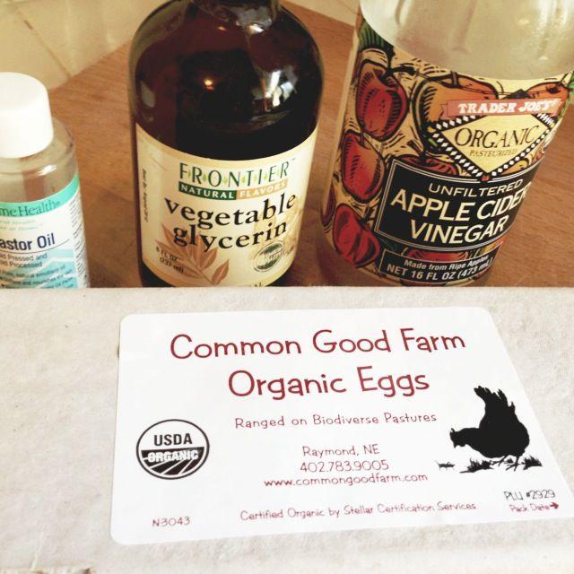 castor oil, vegetable glycerin, apple cider vinegar, organic eggs.