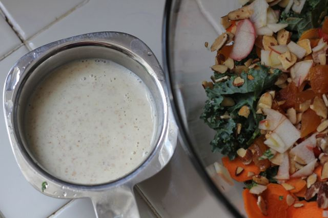 Almond curried salad dressing and kale salad