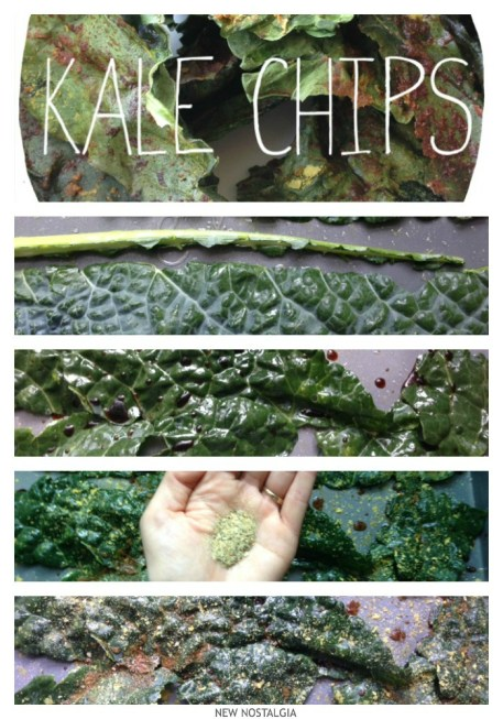 Process of making cheezy kale chips.
