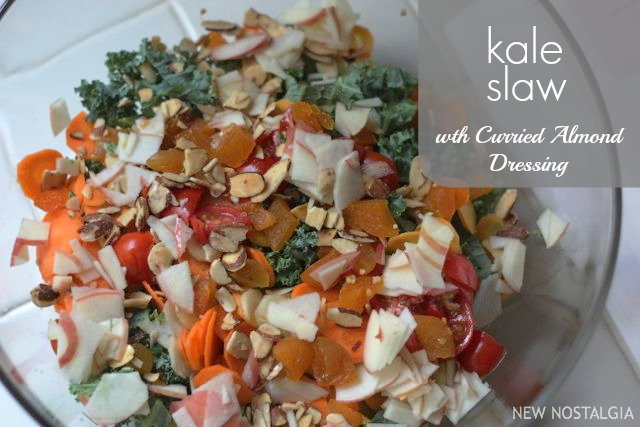 kale slaw with carrots, almonds, dried apricots and sliced apples