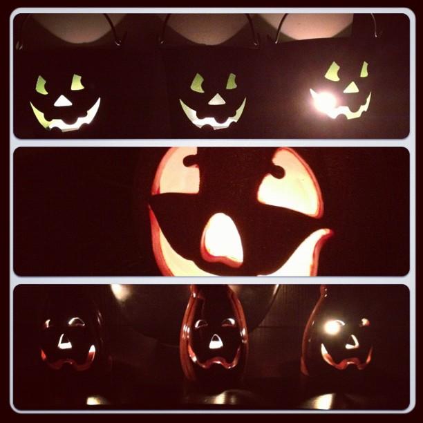 lit up jack o lanterns