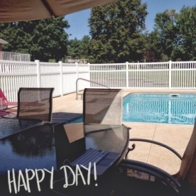 swimming pool and deck table