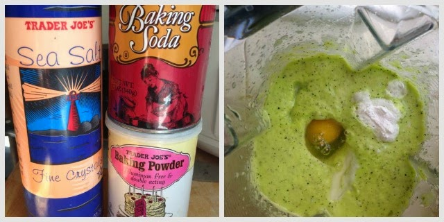 baking soda, salt & baking powder canisters. Egg added to blender