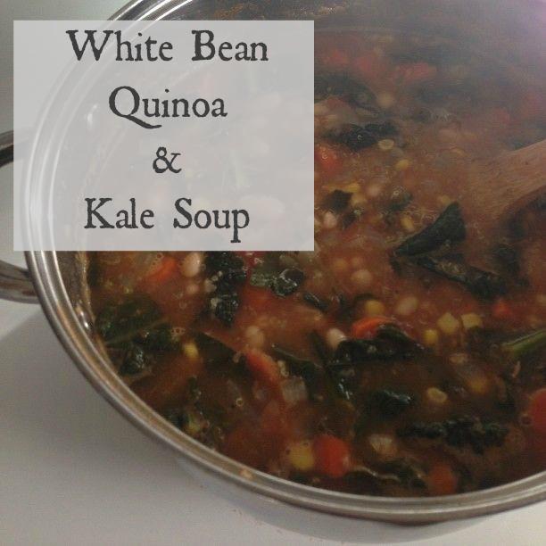 Bowl of white bean quinoa and kale soup