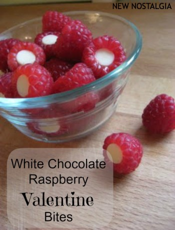 Raspberries stuffed with white chocolate chip for Valentine's Day breakfast