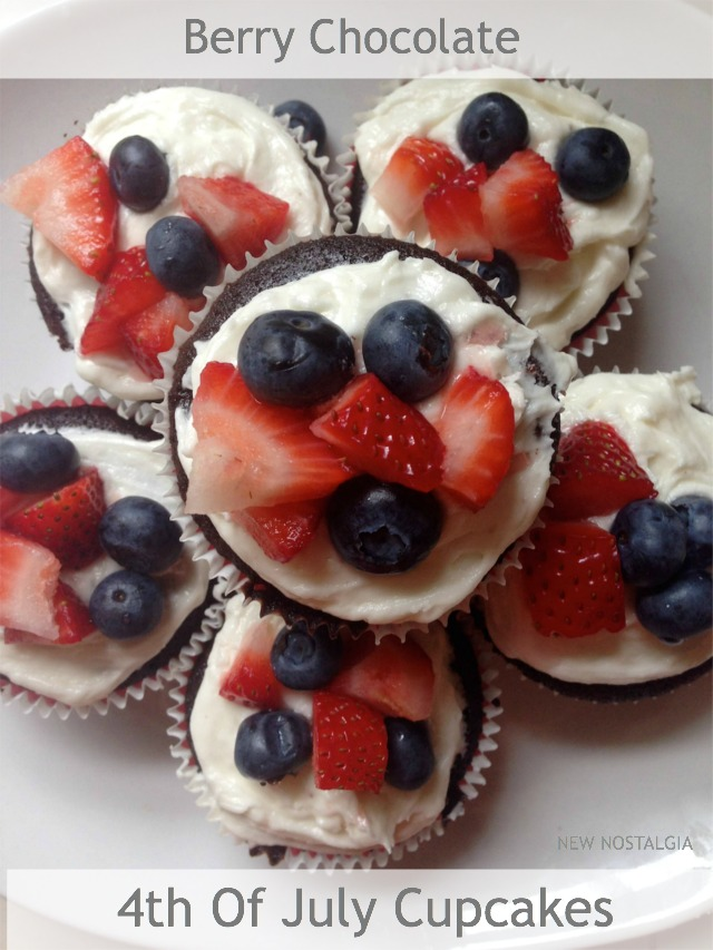 cupcakes with strawberries and blueberries