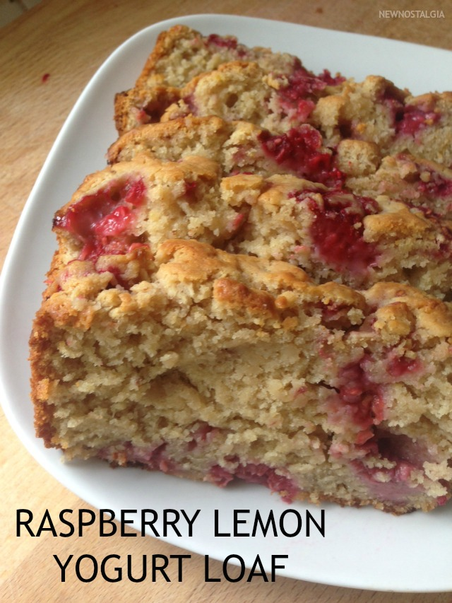 Loaf of bread with lemon and raspberries