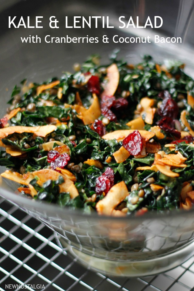 kale salad with dried cranberries and coconut bacon