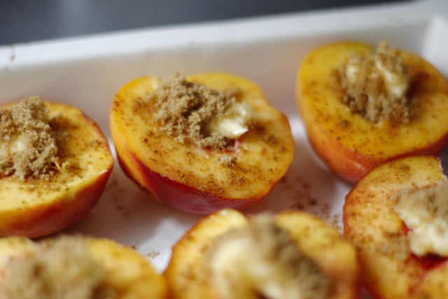 brown sugar and butter in peaches