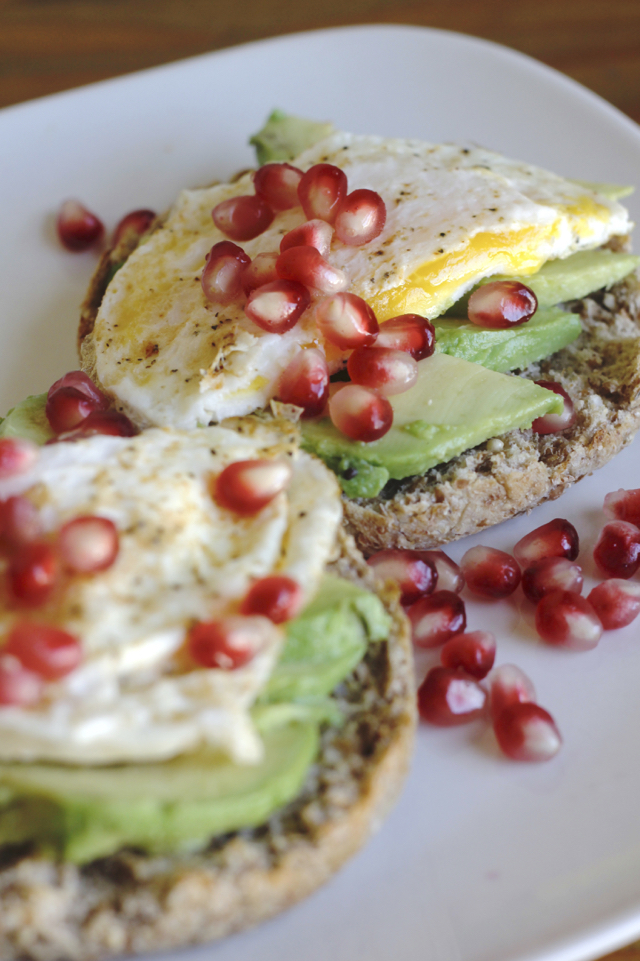 Avocado Pomegranate Egg Muffin breakfast or brunch