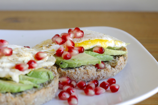 Avocado Pomegranate Egg Muffin on a plate