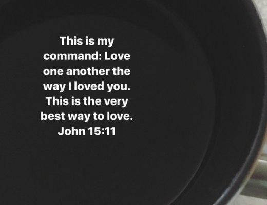 Coffee mug scripture posted on my Instagram Instastory each morning.