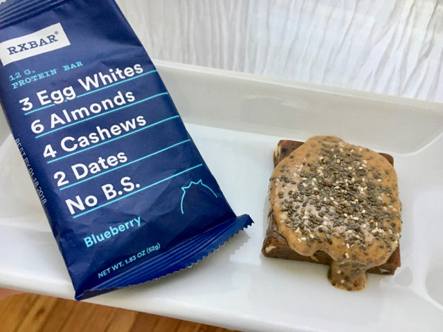 RX Bar Topped with Nut Butter & Chia Seeds! Extra nutritious & filling.