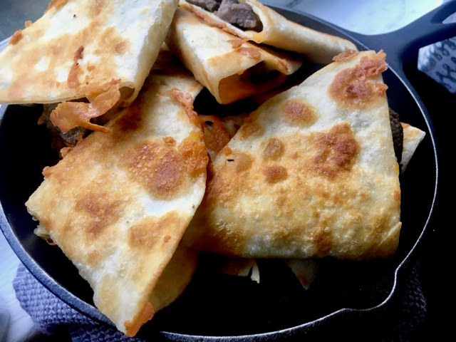 Easy Steak Quesadillas. Nice and brown and crispy!