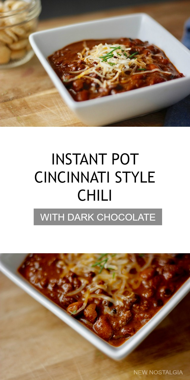 Instant Pot Cincinnati Style Chili with Dark Chocolate