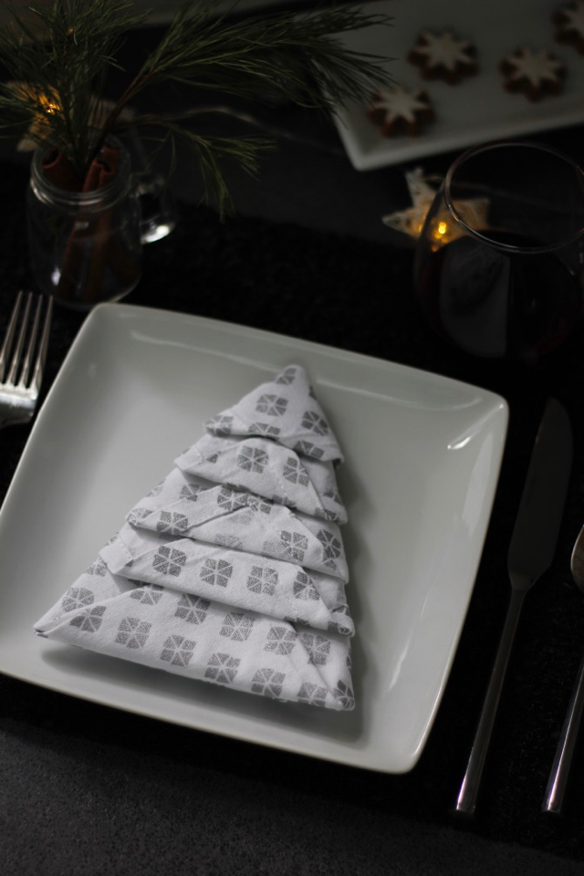 How To Fold Napkins Into Christmas Trees + Tips To Keep Holiday Gatherings Simple