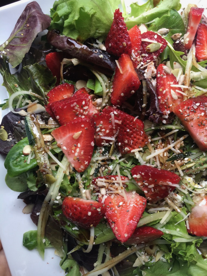 Strawberry Salad topped with seeds