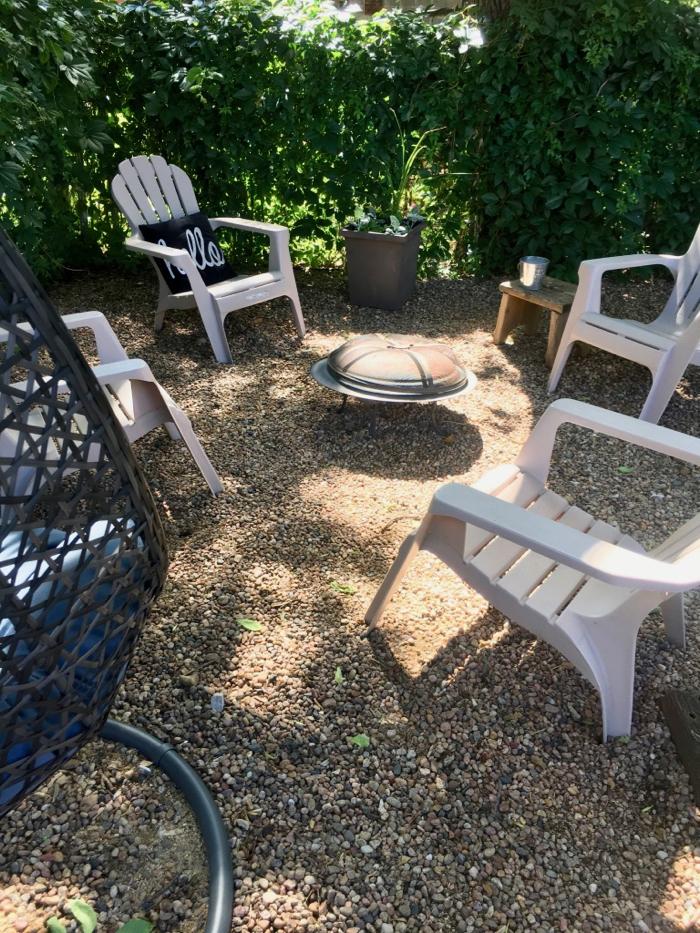 Backyard firepit and chair arrangement