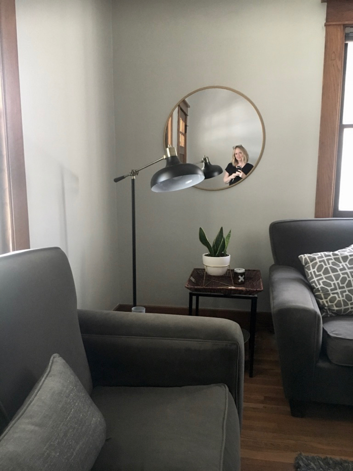 round mirror with gold trim from Target