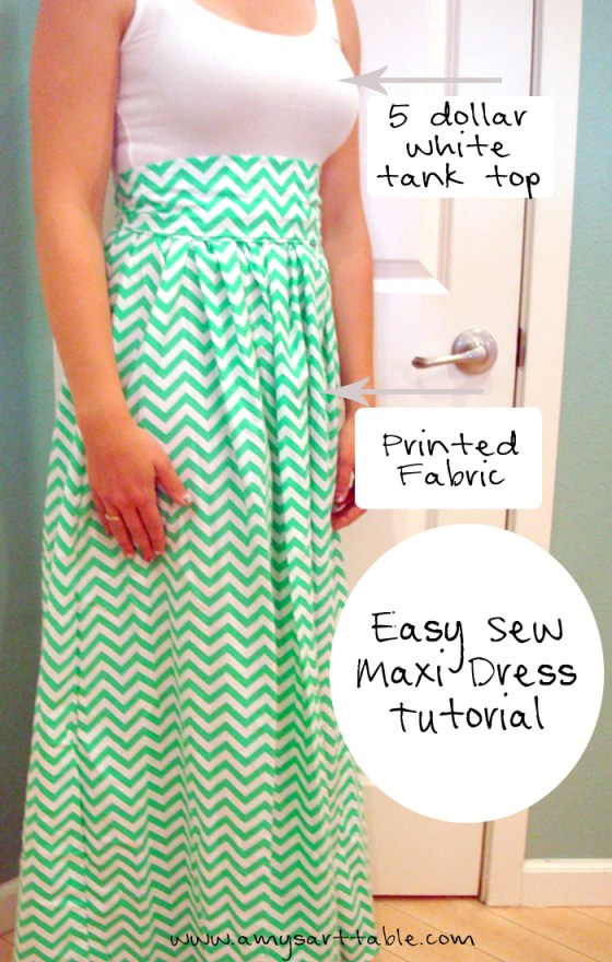 You can sew a simple maxi dress using a white tank top and printed fabric! This tutorial is so simple and turns out great.