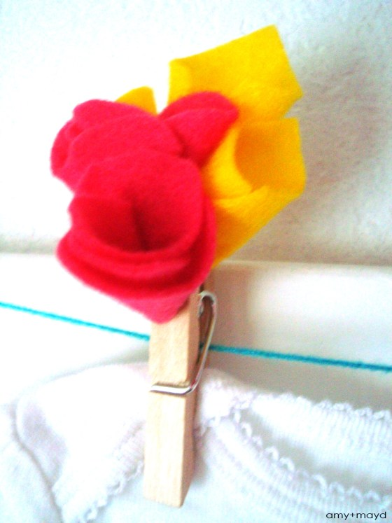 felt flower clothespins