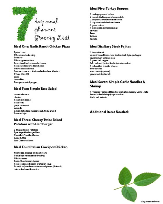 7 day Meal planner grocery list