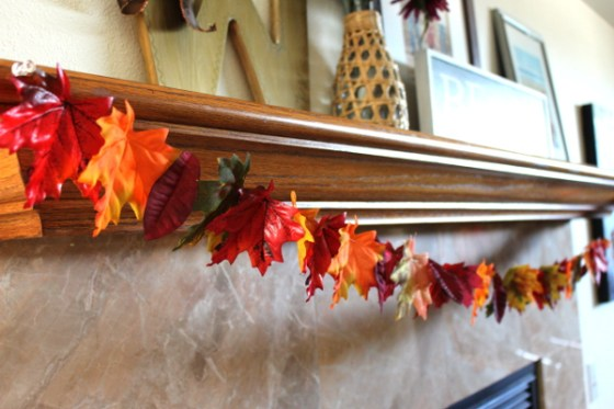 Fall leaf garland made of simple dollar store leaves, click through to see the details on this easy project