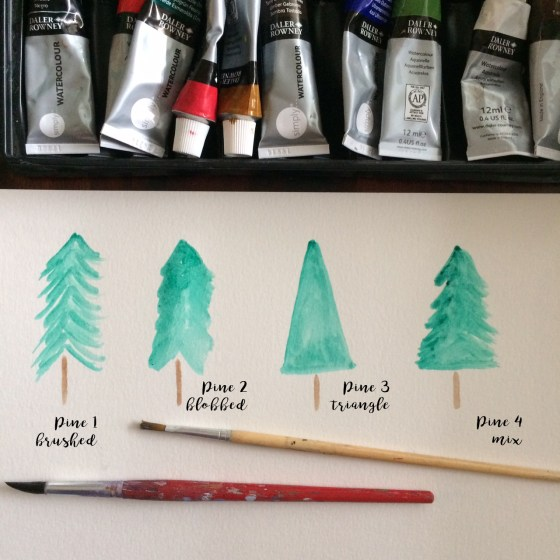 Use Watercolor to paint pine trees at the lake in four steps. This is a relaxing and fun art activity to do with your kids at home. All you need are basic watercolor supplies.