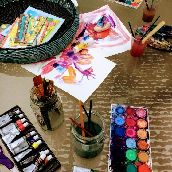 Outdoor watercolor with kids