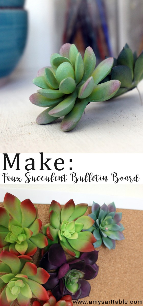 Create a beautiful and functional bulletin board for your office with these simple faux succulents.