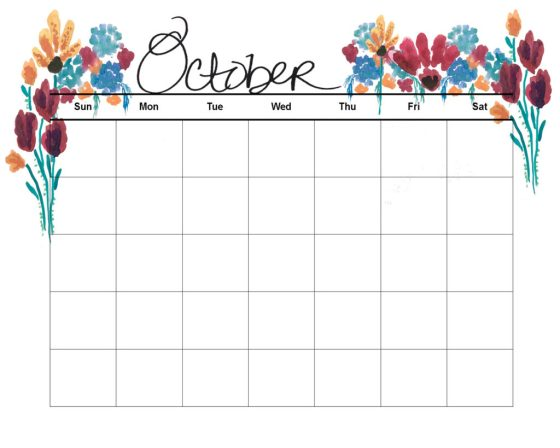 Check out these free fall printables on Amy's Art Table! Here is the October Watercolor Calendar printable, hop on over and print it out!