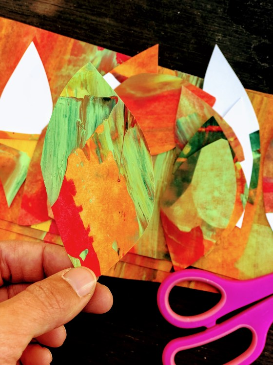 Here is a really simple way to make marbled paper for kids. Find out how we made leaves and a paper crown with some really simple colors.